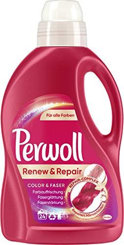 Perwoll Renew & Repair Color & Faser, Flüssigwaschmittel für alle Farben 1er Pack (1 x 24 Waschladungen)