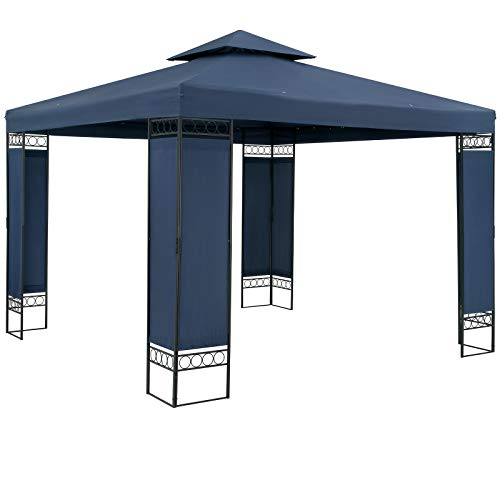 Casaria Pavillon Lorca 3x3m Blau Stabil Wasserabweisend Robust Metall Luxus Gartenpavillon Festzelt Partyzelt Gartenzelt Zelt