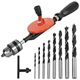 3/8 inch Hand Drill Manual Hand Crank Drill with 8Pcs Drill Bit Set, Safe Double Pinions DesignHand Drill for Wood Plastic and Metal