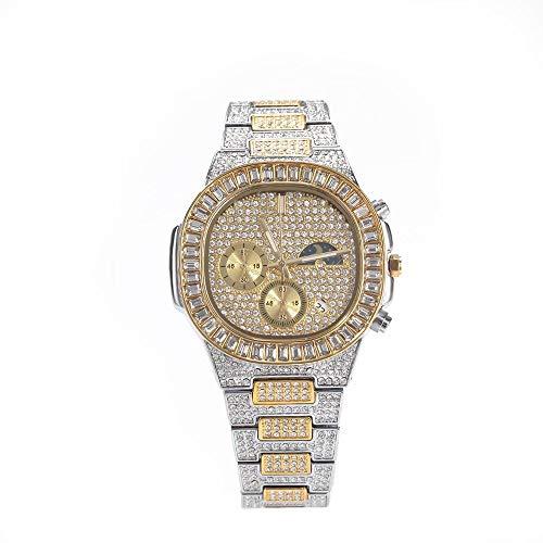 Sun Moon Phase Vintage Relojes Unisex Hip Hop Diamond Watch Bling Iced-out Reloj Calendario de Negocios Flywheel Moon Phase Reloj de Pulsera Impermeable