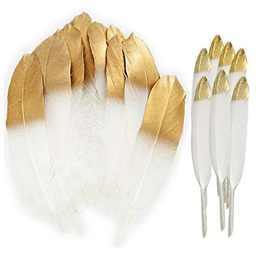 60PCS Plumas blancas naturales con punta empapada en oro,artesanía natural Plumas de ganso para...