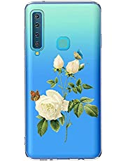 Oihxse Case Transparente Suave TPU Compatible con Samsung Galaxy S9 Plus Funda [Lindo Caricatura Flor Serie Dibujos] Cristal Protector Carcasa Anti Rasguños Bumper Cover-Gardenia
