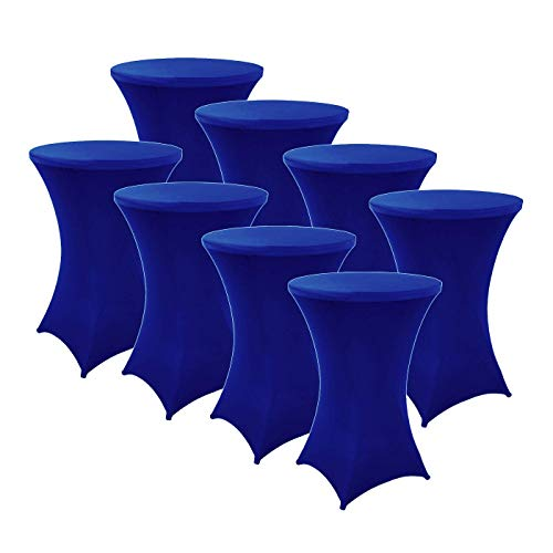 FDBW Stehtischhussen Blau x 8 - Stehtisch Rock - Stehtisch Tische Rock - Bistrotisch - Stretch - ∅80-85 x 110 cm - für Gaststättengewerbe Ereignis | Cocktailparty | Stretchhusse | Tischhusse Blau
