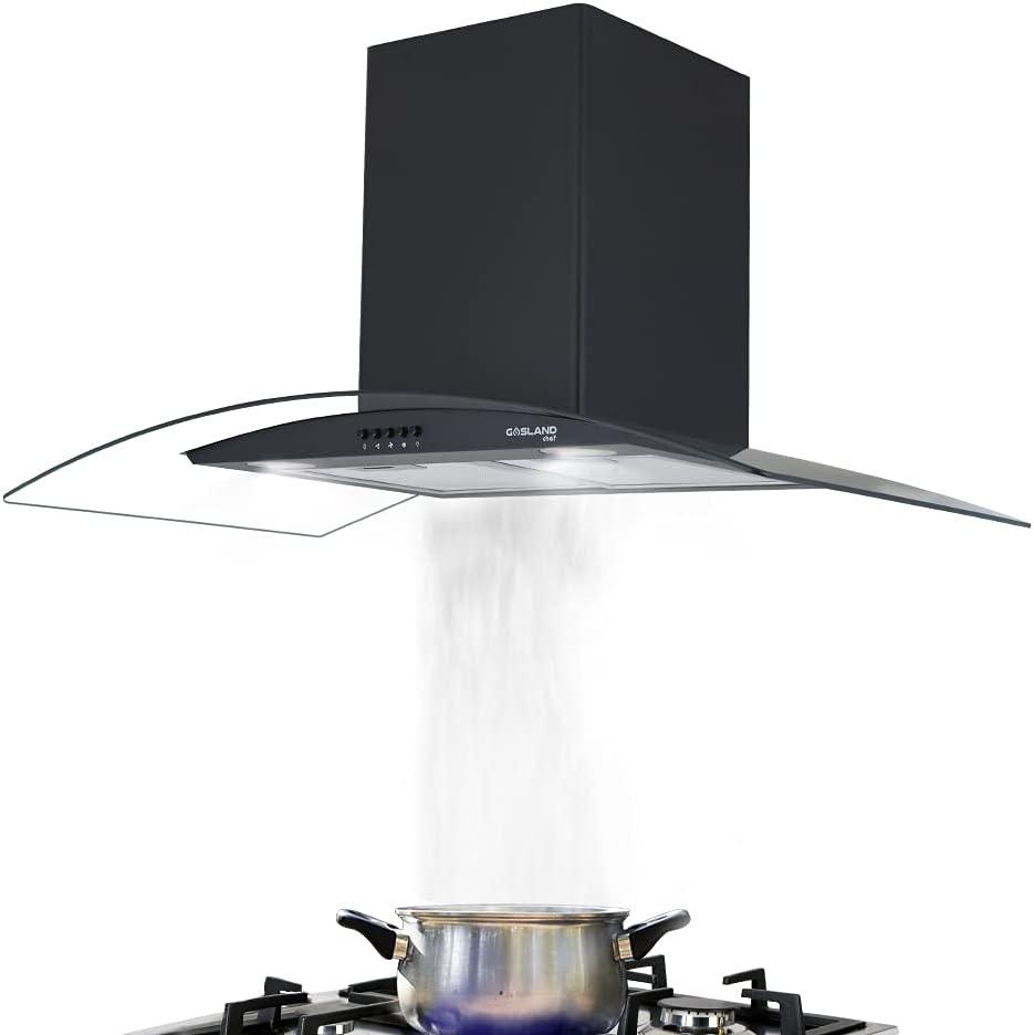 Gasland Campana extractora Chef GR90BP de cristal negro, 90 cm, montaje en pared, 500 m³/h, 3 niveles, con filtro de grasa de aluminio de 5 capas