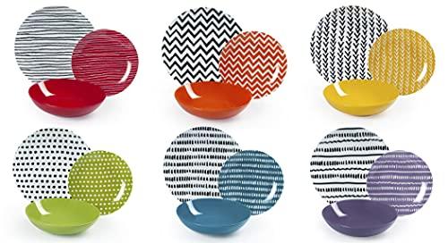 Excelsa Crazy Line Servizio Piatti 18 Pezzi, Porcellana e Ceramica, Multicolore