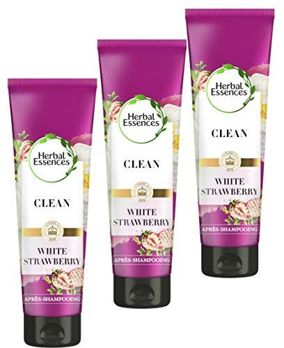 Herbal Essences Après-Shampoing Pure Fraise Blanche et Menthe Verte Purification, 90% d'ingrédients d'origine naturelle, sans Parabènes, sans Colorants, sans Silicones, sans Paraffine, lot de 200ml x3
