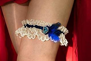 Giarrettiera di pizzo matrimonio sposa biancheria intima regali de nozze addio al nubilato beige blu