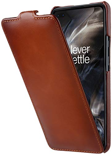 StilGut UltraSlim entwickelt für OnePlus Nord Hülle aus Leder - OnePlus Nord Flip Hülle, Klapphülle, Handyhülle, Lederhülle - Cognac Antik