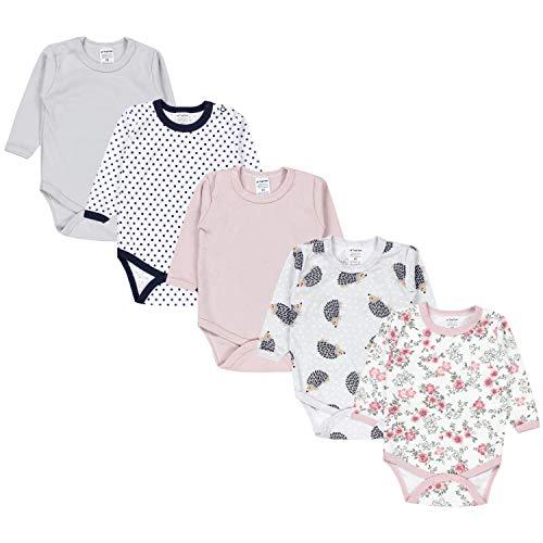 TupTam Mädchen Baby Body Langarm Unifarben 5er Pack, Farbe: Farbenmix 5, Größe: 74