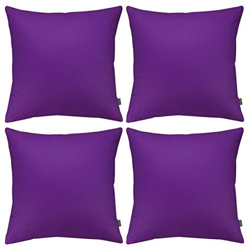 Set di 4 federe copricuscino in cotone per cuscino quadrato (solo federa, senza inserto) (66 x 66 cm, viola)