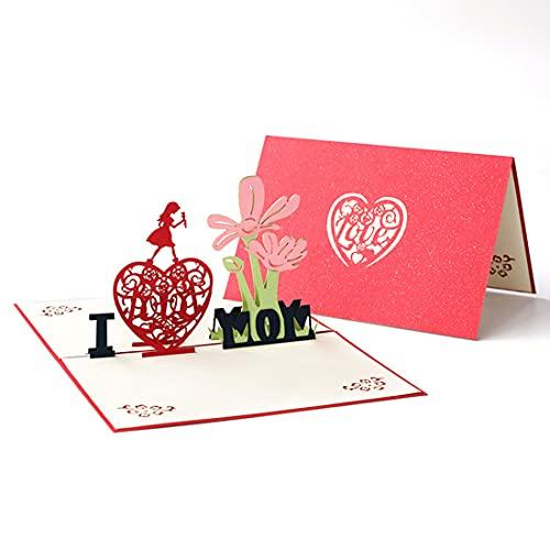 TX Tarjeta del Dia de la Madre, Tarjeta de felicitación 3D,Tarjeta de felicitación, Tarjetas de Boda, cumpleaños, Tarjeta de Origami del día de San Valentín