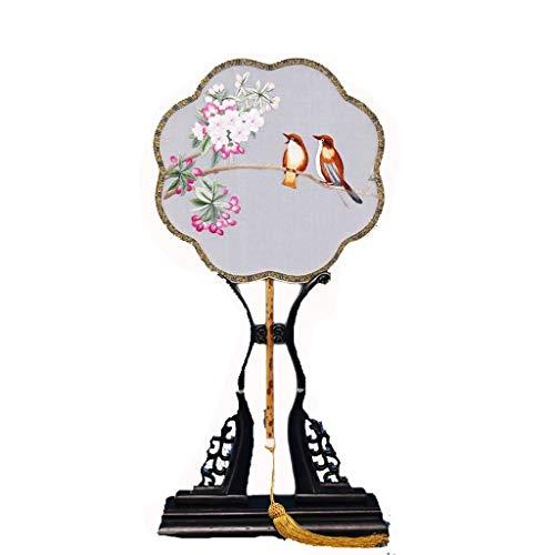LEZDPP Ventilador Ventilador Bordado a Mano Ventilador Palacio Estilo Chino Ventilador Redondo clásico Ventilador Femenino Ventilador de Baile de Estilo Antiguo Ventilador de Regalo (Color : D)
