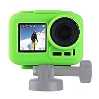 スポーツカメラアクセサリー フレーム付きDJIオスモアクション用シリコン保護ケース (色 : Green)