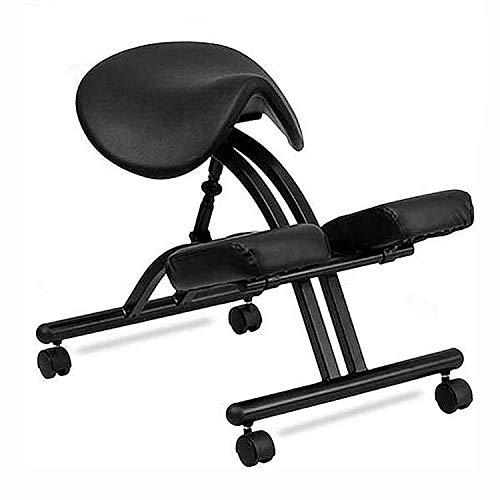 AFTIU Professioneller Kniestuhl mit Einstellbarer Höhe, Ergonomischer Haltungskorrektur Kneeling Chair, Perfekt zur Linderung von Rücken- und Nackenschmerzen, für zu Hause und im Büro,Schwarz