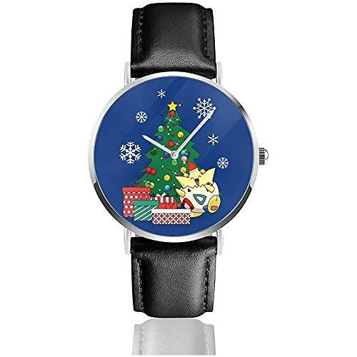 Togepi um den Weihnachtsbaum Uhren Quarz Lederuhr mit schwarzem Lederband für Sammlung Geschenk