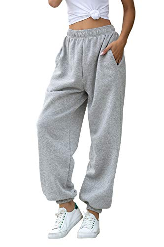 Women's Cinch Bottom Sweatpants Pockets High Waist Sporty Gym Athletic Fit Jogger Pants Lounge Trousers (Grey A, S)