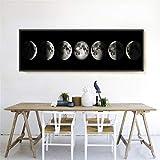 FENGCLOCK Universum Astralkörper Astronomie Planet Kunstdruck modern Wandbilder, Schwarz und Weiß Mond Vlies Leinwand Gemälde Abstrakt Leinwand Wandbild,40x120cm