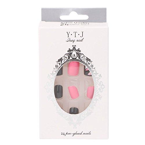 Milue 24pcs / set noir + rose chaud en acrylique conseils ongles courts art faux ongles ongles