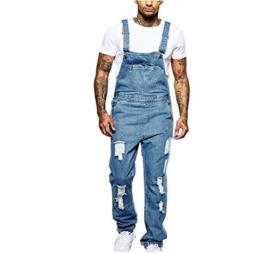 Fansu Peto Jeans Monos Hombres, Denim Jeans Bib Overoles Pantalón Vaqueros de Mono para Hombre Pantalones de...