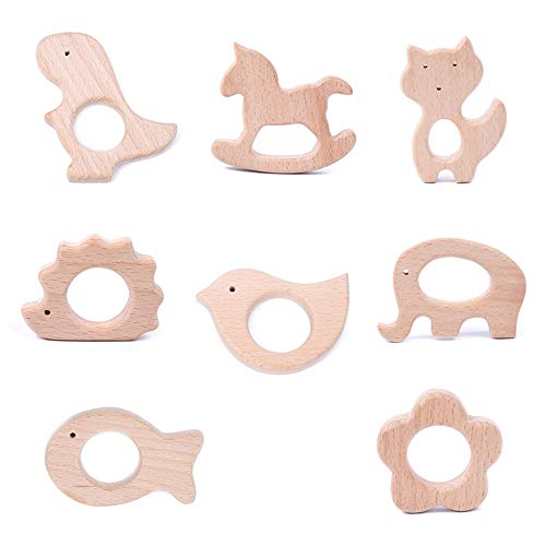 Zasiene Holztiere Baby 8 Stück Beißring Holz Baby Beißring Spielzeug Tierform Hölzern Ring Baby Teether Tier Spielzeug Schnullerkette Selber Machen Set(8 Formen)
