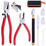 Rustark 3Pcs Premium Glass Running Breaking Pliers and Class Cutter Kit, Heavy Duty Glass Cutting Tool with Rubber Tip, Work Great for Stained Glass, Mosaics, Fusing, Breaking
