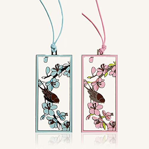 Zhongxingenggeng Segnalibro/Segnalibri/Bookmark segnalibri Libro Holder/su Due Lati Hollow Metallo segnalibro/Cartone/Blu, Rosa 2 Pack
