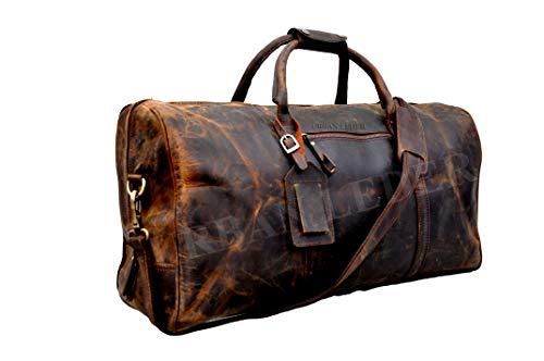 Urban Leder Echtes Leder Weekender, Leder Reisetasche Duffle Bag Leder-Tragetasche für Frauen, Braun Large 61x33x33