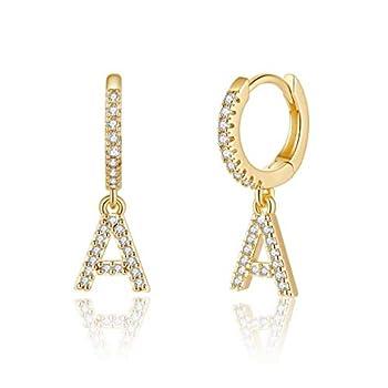 Initial Huggie Hoop Earrings for Women Girls 925 Sterling Silver Post 14K Gold Plated Cubic Zirconia Letter A Initial Dangle Hoop Earrings Dainty Cute Hypoallergenic Earrings for Women Girls