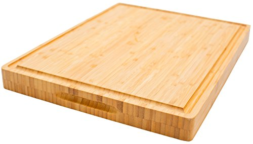 PREMIUM Butcher Block | Bamboo Cutting Board | X-Large | Organic | Size 17''x13''x1.5''