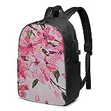 Mochila de flores de pintura al óleo, mochila para portátil de viaje con puerto de carga USB para hombres y mujeres de 17 pulgadas - negro - talla única