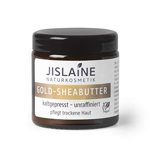 Jislaine Gold-SHEABUTTER* - Kaltgepresst und unraffiniert für sehr trockene Haut & Haare -> Komplett vegan & ohne Palmöl - 100g beste Hautpflege - im Glastiegel