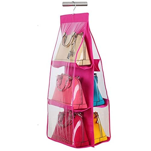 Cpixen 6 Pockets Pouch Hanging Handbag Organizer Clear Purse Bag Collection  Storage Holder Wardrobe Closet Space b28e876ff4243