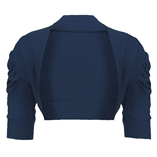 mymixtrendz Kids Bolero Ruched Sleeve Girls Long Sleeve Shrug 7-13 (13-14 Year, Navy)