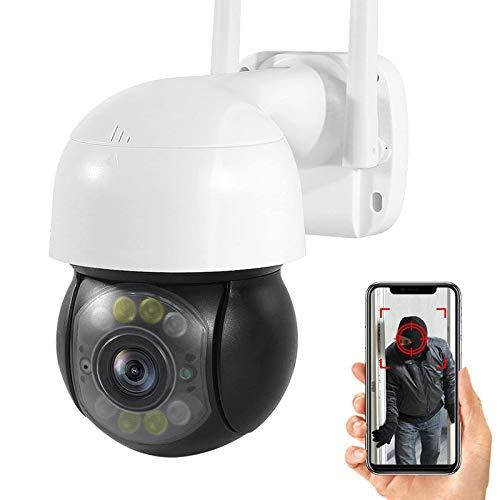 Cámara de vigilancia exteriores,Cámara de seguridad WiFi,1080P HD PTZ CCTV IP Cámara,visión nocturna,audio de 2 canales,alarma,detección de movimiento,Onvif,IP66 impermeable (Cámara+tarjeta TF de 32G)