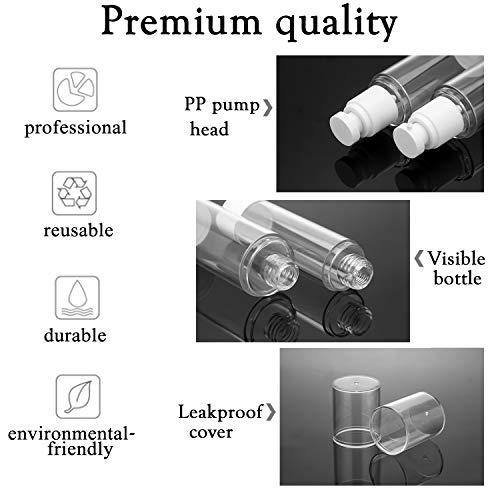 Alledomain 6Pcs 50Ml Airless Pump Bottle | Nachfüllbare Leere durchsichtige Reiselotionspumpenbehälter Spender- / Vakuumpresspumpenflaschen für Foundation, Essenz, Lotion