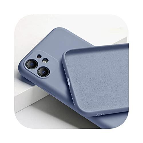 Funda suave del teléfono del color del caramelo para el iPhone 11 12 mini Pro Max 7 8 6 6S Plus XR X XS MAX SE cubierta de silicona líquido-gris para el iPhone 6