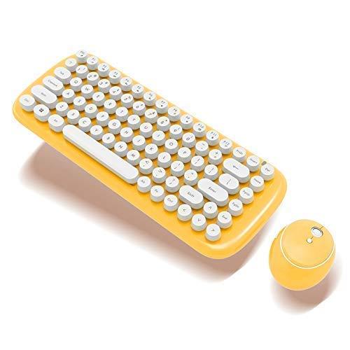 Baibao - Mini teclado inalámbrico de 2,4 G, fácil de transportar, mini teclado para oficina, teclado y ratón rosa (color amarillo)