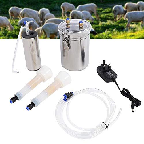 MALY Máquina de ordeño de Vaca de Cabra 2L, pequeño Kit de lechero de vacío portátil eléctrico con Barril de Leche de Acero Inoxidable, 2 Tazas de pezones y Cepillo de Limpieza,Goat