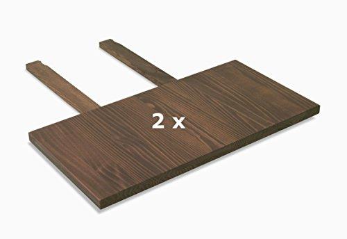 Naturholzmöbel Seidel 2er Set Ansteckplatten 40x80cm Farbton Cognac braun für Esstisch Rio Bonito und Rio Santo 120x80, 140x80, 150x80 und 160x80cm, Pinie Massivholz geölt und gewachst