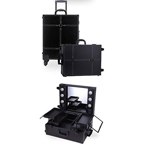 Dsqcai Beleuchtete Trolley-Make-up-Box mit Spiegel Mehrschichtige Multifunktions-Kosmetikbox Großraum-Trolley-Box Aufbewahrungsbox Toolbox,1