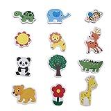 VOSAREA 60 Piezas Imanes de Nevera de Animales de Madera Imanes de Refrigerador Juguetes Magnéticos para Niños (Estilo Variado)