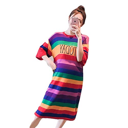 SATIWHYU Robes Maternité Vêtements Femme Maternity Wear - Jupe en Maille Rayée Grande Taille