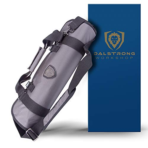 DALSTRONG - Ballistic Series Knife Roll - Graphite Black - Premium Ballistic Nylon & Top Grain Leather Roll Bag - 22 Knife Slots - Interior and Rear Zippered Pockets - Blade Travel Storage/Case