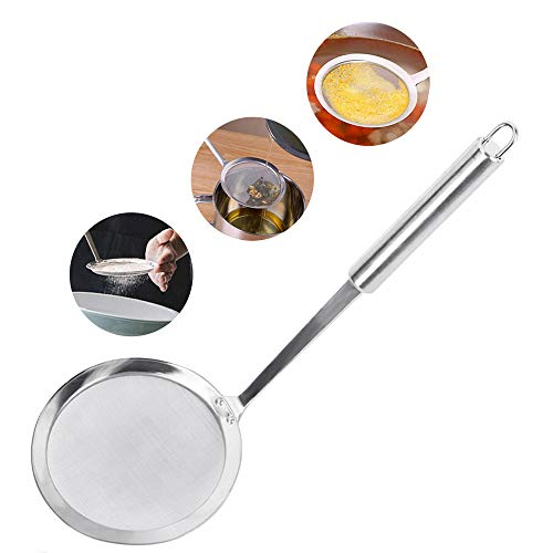 McoMce Slotted Spoon, Stainless Steel Soup Strainer, Spider Strainer, Premium Fine Mesh Food Skimmer Strainer, Kitchen Utensil Grease Strainer for Grease, Gravy and Foam With Long Handle (Silver)