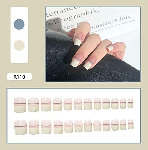 Faux ongles 24pcs flamme neige motif faux ongles couverture complète faux ongles bricolage manucure nail art outils