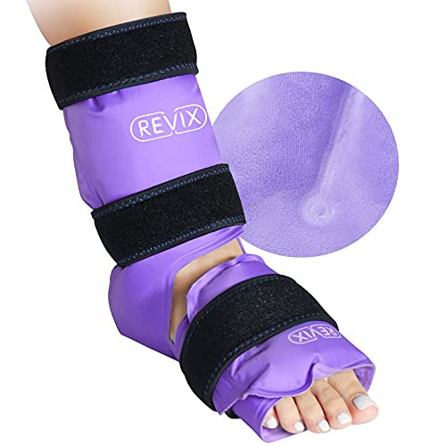 REVIX Ankle Ice Pack Wrap for Injuries Reusable Gel Foot Cold Pack for Achilles Tendonitis, Plantar Fasciitis and Sprained Ankles or Feet Pain Relief, Purple