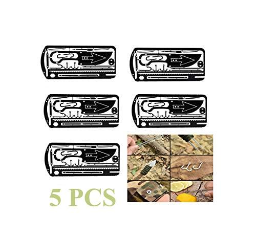 Jemets Fishing Gear Hook Card 5 pcs, Outdoor Hiking Camping Fishing Gear Hook, Multifunction Fishing Gear Hook Card, Hunting Emergency Fishing Gear Survival EDC Kit, Boy Scouts Field Fishing Gear Hook