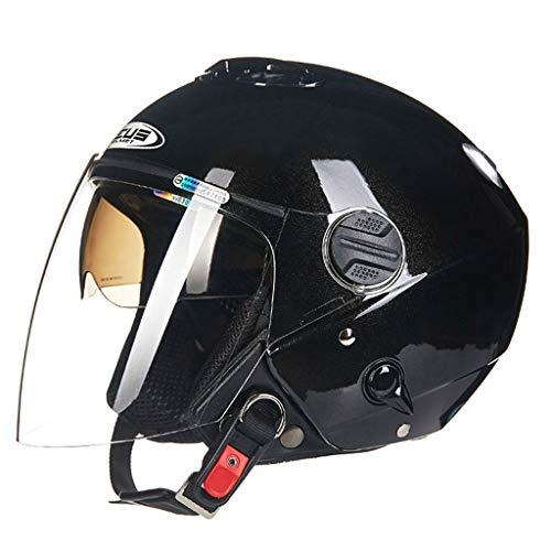 Casque moto moto double lentille fashion casque de moto (Couleur : B-L(57-58cm))