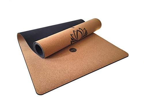 WG WATAGIFT Esterilla de yoga de 4 mm, corcho natural y TPE antideslizante, respetuoso con el medio ambiente, pilates, estiramiento, gimnasia y entrenamiento de fitness, 186 x 61 x 0,4 cm