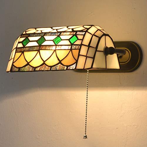 American Style Retro Wandleuchte, Landhausstil Tiffany Wandlampe Schlafzimmer Nachttischlampe mit Zugschalter, Glasmalerei Lampenschirm, für Wohnzimmer Studieren Loft Esszimmer, E27 MAX60W,Weiß